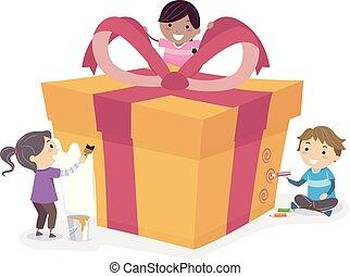 Stickman Kids Gift Wrapping Illustration