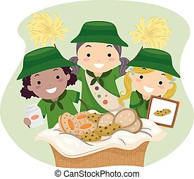 Stickman Kids Girl Scout Cookies Girls