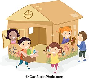 Stickman Kids Girls Cardboard House Play