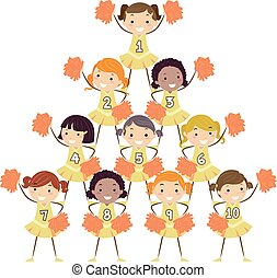 Stickman Kids Girls Cheering Squad Numbers - Illustration of...