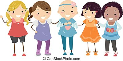 Stickman Kids Girls Friends Alopecia Illustration