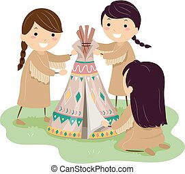 Illustration of Stickman Native American Kid Girls Making a Mini Teepee