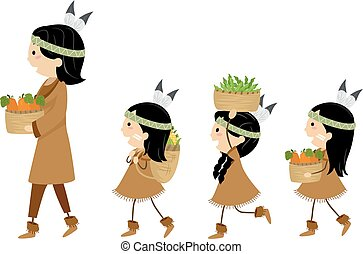 Stickman Kids Girls Native American Harvests