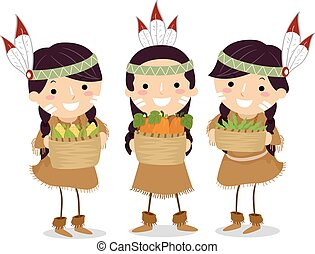 Stickman Kids Girls Native American Sister Crops