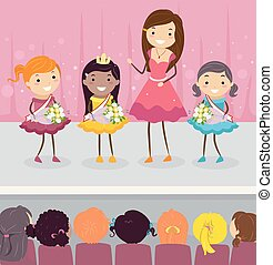 Stickman Kids Girls Pageant Illustration - Illustration of...