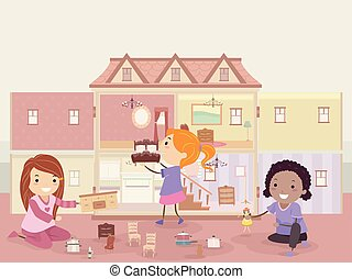 Stickman Kids Girls Play Doll House Illustration