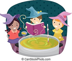 Stickman Kids Girls Playing Witch