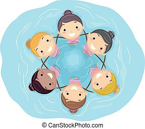 Stickman Kids Girls Synchronized Swimming Team