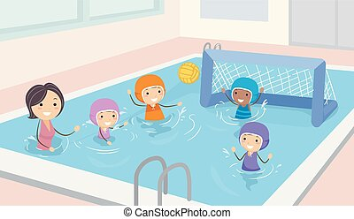 Stickman Kids Girls Water Polo Illustration