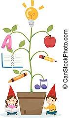 Stickman Kids Gnome Plant Education Illustration