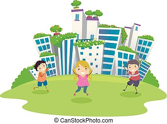 Stickman Kids Green City Illustration