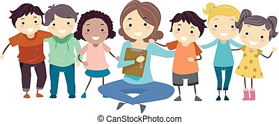 Illustration of a Girl Psychiatrist Sitting Down with Kids for Group Counseling