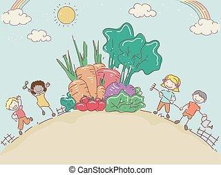 Stickman Kids Harvest
