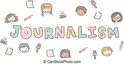 Stickman Kids Heads Journalism Lettering
