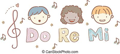 Stickman Kids Heads Music Do Re Mi Illustration