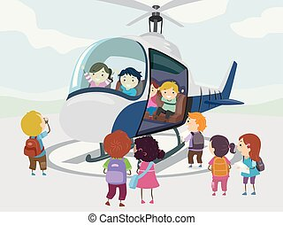 Stickman Kids Helicopter Illustration