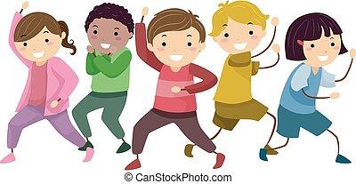 Stickman Kids Hero Group Pose Illustration - Illustration of...