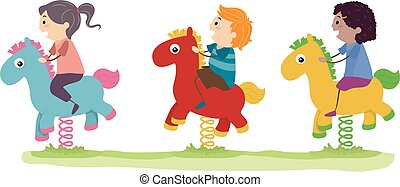 Stickman Kids Horse Rocker Playground Illustration