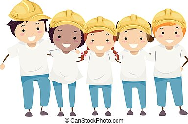 Stickman Kids House Construction Volunteers
