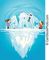 Stickman Kids Iceberg Abc Illustration