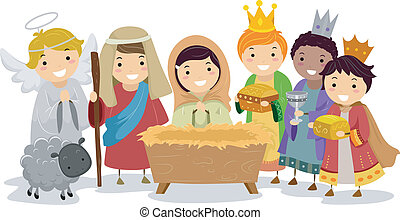 Illustration of Stickman Kids Playing Nativity Scene in School Play