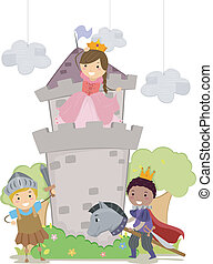Stickman Kids in Princess and Knights School Play -...