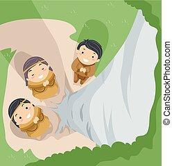 Stickman Kids Indian Pray Tree Spirits