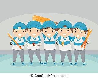 Stickman Kids Indoor Cricket Team Illustration