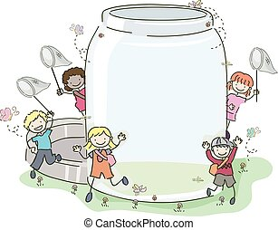 Stickman Kids Insect Jar Nets Illustration