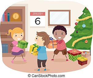 Stickman Kids January Gift Giving Illustration