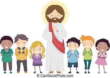 Stickman Kids Jesus Praying Illustration