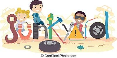 Stickman Kids Junkyard Lettering Illustration - Illustration...