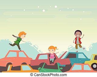 Stickman Kids Junkyard Scene Illustration - Illustration of...