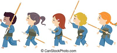 Stickman Kids Kendo Illustration