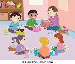 Stickman Kids Knitting Club Illustration - Illustration of...