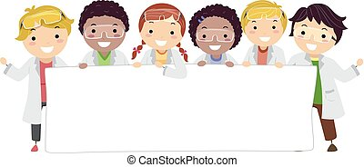 Stickman Kids Lab Coat Banner Illustration