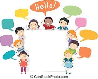 Stickman Kids Language Board Illustration
