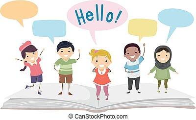 Stickman Kids Language Book Speech Bubbles - Illustration of...