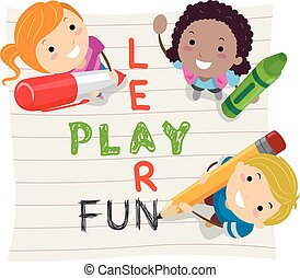 Stickman Illustration of Kids Having Fun While Learning