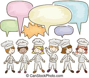 Stickman Kids Little Chefs Talking Illustration