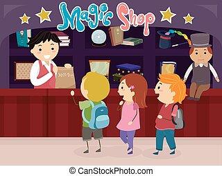 Stickman Kids Magic Shop Illustration