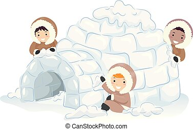 Stickman Kids Making Igloo Illustration