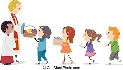 Stickman Kids Mass Offering Illustration - Illustration of ...