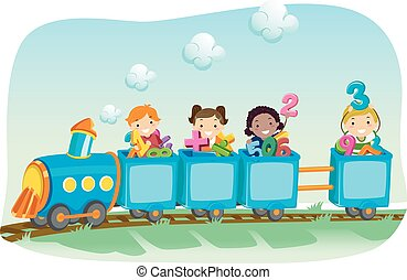 Stickman Kids Math Train Numbers - Stickman Illustration of...