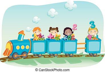 Stickman Illustration of a Diverse Group of Preschool Kids Riding a Locomotive Train