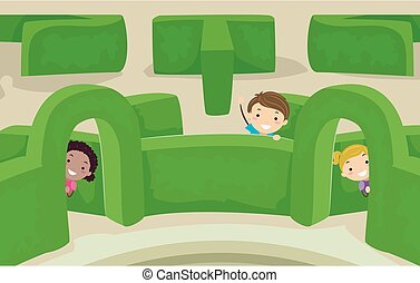 Stickman Kids Maze Garden Peek Illustration