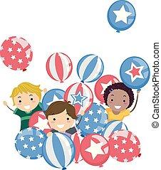 Stickman Kids Memorial Day Balloons Illustration