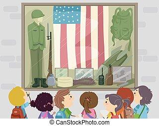 Stickman Kids Memorial Museum Illustration