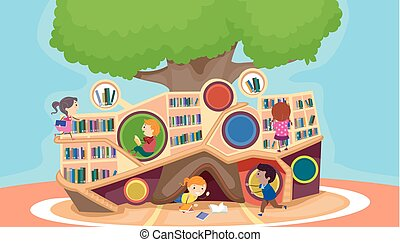 Stickman Kids Modern Library Illustration