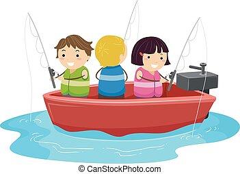 Stickman Kids Motor Boat Fishing Illustration
